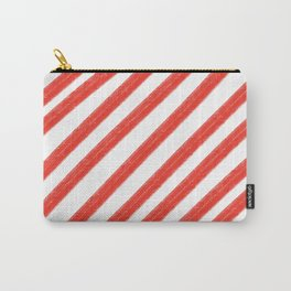 Red and White Painted Diagonal Stripes Pattern Carry-All Pouch