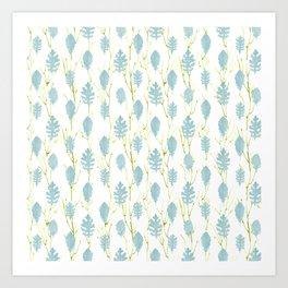 Leaf Art 3 Blue, leaves, nature art, leaf design, leaf pattern, watercolor art design Art Print