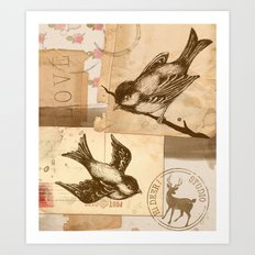 Bird Collage  Art Print