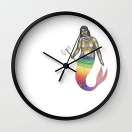 mermaid with an axe Wall Clock