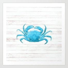 Nautical Blue Crab Driftwood Dock Art Print