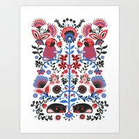 folk Art Prints featuring The Pug of Folk  by Huebucket