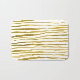 Irregular watercolor lines - yellow Bath Mat