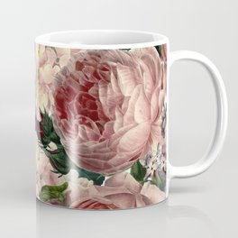 Vintage & Shabby Chic Pink Dark Floral Roses Lilacs Flowers Watercolor Pattern Coffee Mug