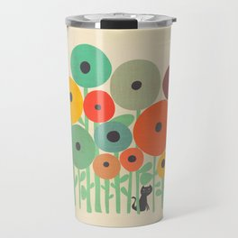 Cat in flower garden Travel Mug