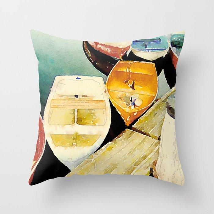 Rockport, MA Dories Throw Pillow