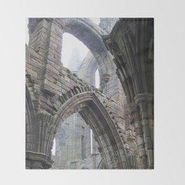 Whitby Abbey in Fog #2 Throw Blanket