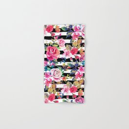Cute spring floral and stripes watercolor pattern Hand & Bath Towel