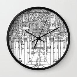 Alhambra palace, Granada, Andalucia - Spain-Black & White Wall Clock