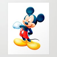 mickey Art Prints featuring Mickey by loveme