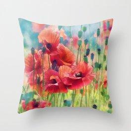 Poppy Parade Throw Pillow