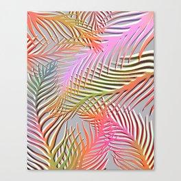 Palm Leaves Pattern - Pink, Gray, Orange Canvas Print