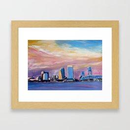 Jacksonville Florida Skyline with Bridge at Sunset Framed Art Print