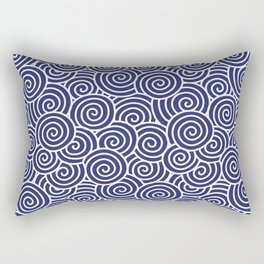 Chinese Spirals | Abstract Waves | Blue and White Rectangular Pillow