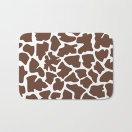 Animal Print (Giraffe Pattern) - Brown White Bath Mat