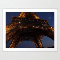 Eiffel Tower Below Art Print