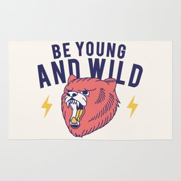 Cool Vintage Quote Be Young and Wild Bear Rug