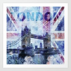 London Tower Bridge mixed media Art and Typography Art Print