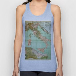 Italy in 1490 - Vintage Map Series Unisex Tank Top