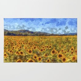 Vincent Van Gogh Sunflowers Rug