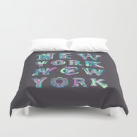 nyc Duvet Covers featuring NYC by Fimbis