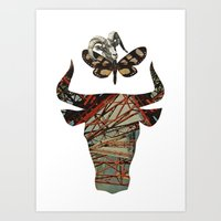 bull and butterfly series #4 Art Print