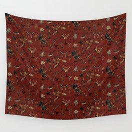 Retro tattoo, sailor tattoos, pin up, rockabilly red pattern Wall Tapestry