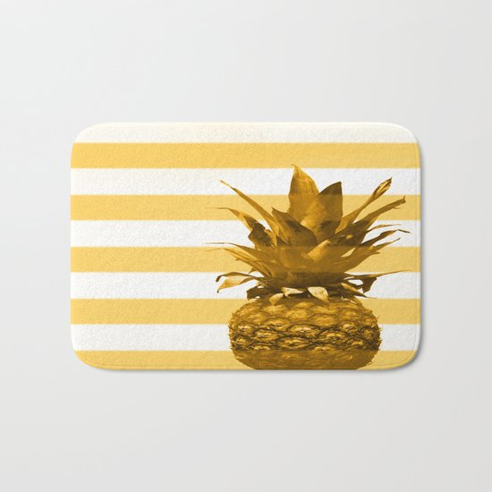 Pineapple with yellow stripes - summer feeling Bath Mat