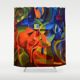 The Pigs by Franz Marc Shower Curtain