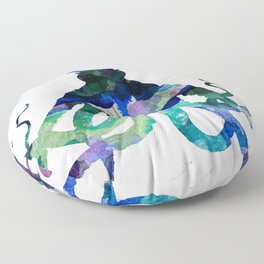 Watercolour Octopus on Marble Background Floor Pillow