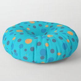 Blue and Orange dots on Blue Floor Pillow