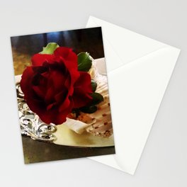 Red Rose in a Shell Stationery Cards