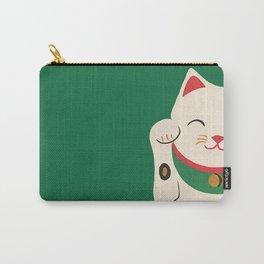 Green Lucky Cat Maneki Neko Carry-All Pouch