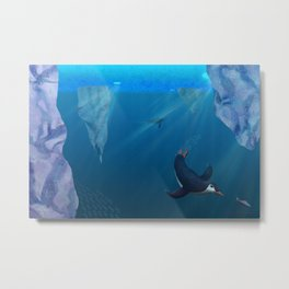 Penguins Swimming Under Ice Metal Print