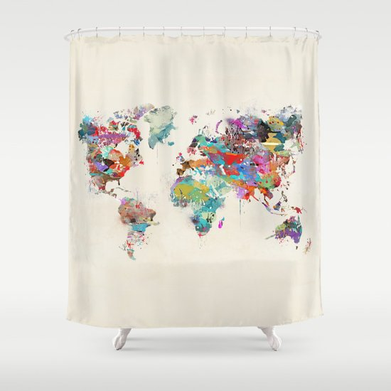 World Map Watercolor Shower Curtain By Bribuckley