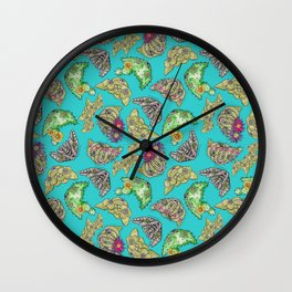 """""""Oro?"""" Cactus with Flower Teal Wall Clock"""