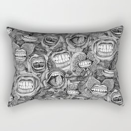 BITE ME roses and orchids BLACK WHITE Rectangular Pillow
