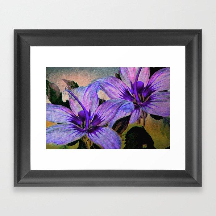 Vintage Painted Lavender Lily Framed Art Print