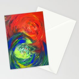 Dynamic Swirls of Color - Red Stationery Cards
