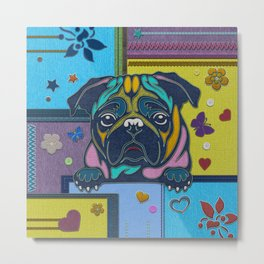 Cute Pug Dog fabric Scrapbook style   Metal Print