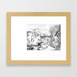 3 women bathing Framed Art Print