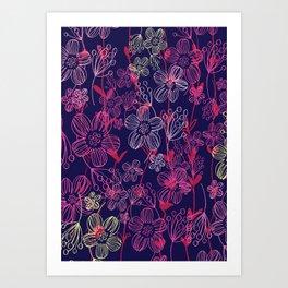 chalk flowers Art Print