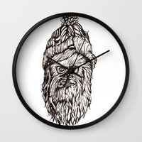 chewbacca Wall Clocks featuring Hipster Chewbacca  by LaurenNoakes