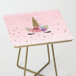 Floral Trendy Modern Unicorn Horn Gold Confetti Side Table