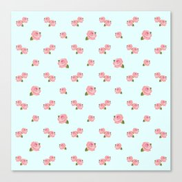 Pink Roses Repeat Pattern on Lt Blue Canvas Print
