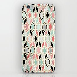Patchwork Pattern in Coral, Mint, Black & White iPhone Skin