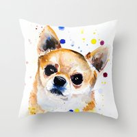 chihuahua Throw Pillows featuring Chihuahua by Slaveika Aladjova