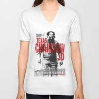 texas V-neck T-shirts featuring TEXAS CHAINSAW by Maioriz Home