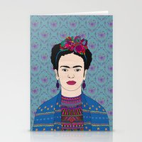 frida kahlo Stationery Cards featuring Frida Kahlo by Bianca Green