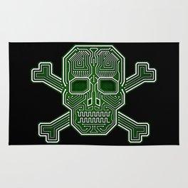 Hacker Skull Crossbones (isolated version) Rug